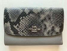 NWT Coach F37378 Python Leather Medium Wallet Heather Grey
