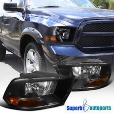 2009-2016 Dodge Ram 1500 2500 3500 Pickup Euro Replacement Black Headlight Lamps