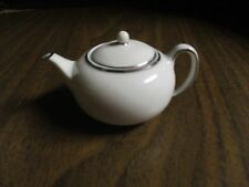 "Wedgwood china Miniature WhiteTeapot with Silver Trim 1½"" Tall"