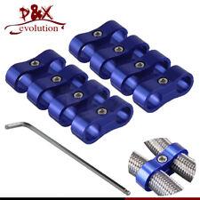 8pcs AN-6 AN6 13MM Braided Hose Separator Clamp Fitting Adapter Bracket Blue