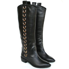 GIUSEPPE ZANOTTI black leather gold metal o-ring buckle cowboy boots 36/6 NEW