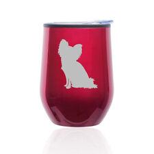 Stemless Wine Tumbler Coffee Travel Mug Glass Cup w/ Lid Papillon