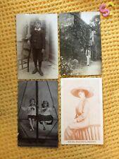 More details for setvof 4 antique original c1910 photographic postcards children minnie muir