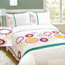 WHITE Pink Embroidered & Appliqued Poly-Cotton KING Quilt Doona Duvet Cover Set