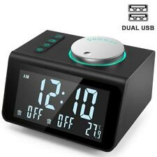LED Digital FM Radio Alarm Clock Dual USB Charger LCD Screen Snooze Temperature