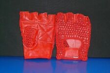 RED FINGERLESS GLOVES - PALM RED LEATHER - BACK MESH - FOAM PADDED PALM SMALL