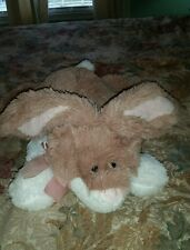 "Large Plush Bunny tan white Rabbit Pink Bow Ears Animal Adventure Plush 22"" #K2"
