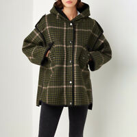 Maje Gangzam Oversize Checked Faux Shearling Lined Wool Blend Coat $675 Khaki