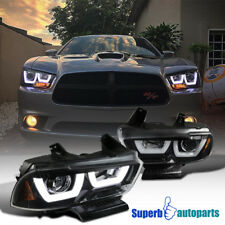 11-14 Dodge Charger Shiny Black LED DRL Dual Halo Projector Headlights Clear