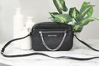 Michael Kors Jet Set Large Black EW Pebble Leather Zip Chain Crossbody Handbag