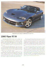 2000 Dodge Viper RT/10 Roadster Article - Must See !!