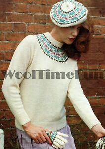 Knitting Pattern Classic Ladies Fair Isle Yoke Sweater/Beret/Gloves.