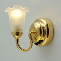 1/12 Dollhouse Miniature Tulip Wall Lamp 12V Working Light Room Miniature