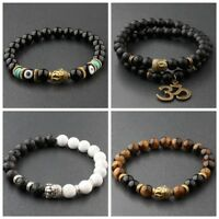 Fashion Women 8MM White Turquoise Lava Beads Buddha Head Men Charm Bracelets