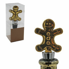 Christmas Character Gold Wine Bottle Stopper Cork - Gingerbread Man