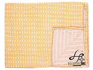 Single Size Kantha Quilt Bedding Throw Cotton Hand Block Blanket Hippie Bedsheet