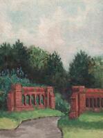 COUNTRY LANE LANDSCAPE Antique Watercolour Painting c1910