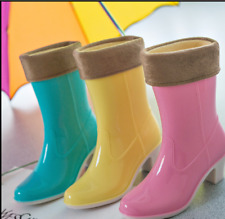 Womens Fashion Uk 3-7 Patent Leather Mid Calf Boots Rain Boots Block Heel Shoes