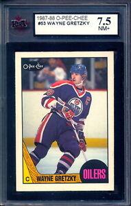 1987 OPC O PEE CHEE Hockey #53 Wayne Gretzky Graded KSA 7.5 NM + Edmonton Oilers