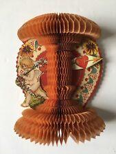 Vintage Crepe Paper Fold Out Valentine Card / Decoration, Honeycomb, Cupid Angel