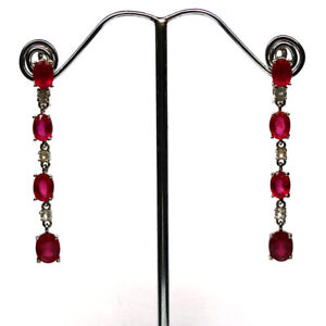 NATURAL PINK RUBY & WHITE TOPAZ LONG EARRINGS 925 STERLING SILVER