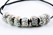 10Pcs SILVER MURANO GLASS BEADS LAMPWORK Fit European Charm Bracelet DIY Making