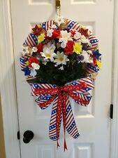 """Handmade 18"""" Patriotic 4th of July Straw Wreath w/Artificial Flowers & Trimmings"""