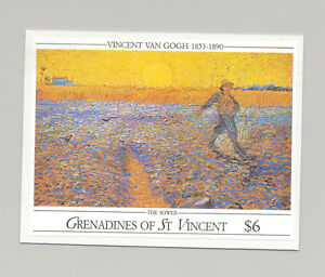 St Vincent (Grenadines) #768 Van Gogh, Art 1v S/S Imperf Proof on Card