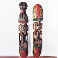 Men&Women Hand Carved African Mask Face Wooden Tribal Vintage Wall Art Painted