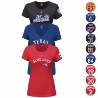 MLB Team Player Name & Number Jersey T-Shirt Collection by MAJESTIC - Women's