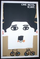 CINE MOVIL / Cuban Silkscreen Poster with Chaplin for Cuba Mobile Movie Campaign