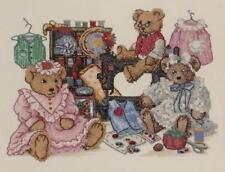 Bucilla Finished Cross Stitch Framed Needlework Bears Sewing Quilting Crafts ++