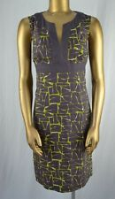BODEN Chic Patterned Sheath Dress US 8R Nubby 100% Cotton Charcoal & Lime