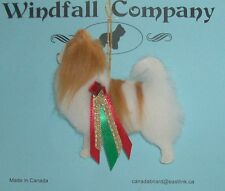 Red White Long Coat Chihuahua Dog Soft Plush  Christmas Canine Ornament # 1