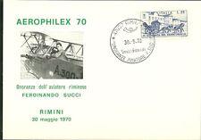 Cartolina FILATELIA SPORTIVA SUCCI  AEROPHILEX '70 ASSO DELL'AVIAZIONE RIMINI