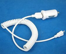 2A Car Charger+Coiled Micro USB Cable White 4 Samsung Tab S2 9.7 8.0 S 10.5 8.4