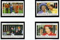 St VINCENT GRENADINES 1991 QUEEN 65th BIRTHDAY SET OF ALL 4 COMMEMORATIVES MNH