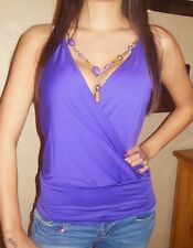 25029 - Deep Purple Wrap Top with Wide Waist Hemming & Attached Neck Chain 10/12