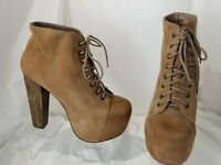 Jeffrey Campbell Lita Women's Brown Suede Platform Lace Up Ankle Boots Size 9 M