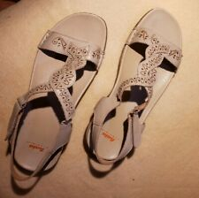 BATA Bone Color Faux Leather Ankle Strap Sandals 41(US sz 10)