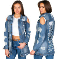 Women Denim Ripped Cold Shoulder Long Sleeve Buttons Casual Clubwear Jacket Coat
