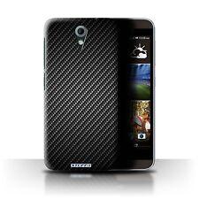 STUFF4 Case/Cover for HTC Desire 620/Carbon Fibre Effect/Pattern/Grey
