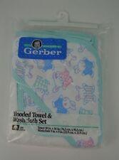 Vintage Gerber Hooded Baby Bath Towel & Washcloth Set NEW Bunny Rabbits Blue