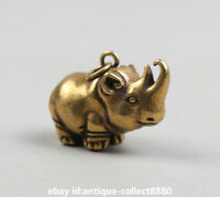 "1.3"" Curio Chinese Bronze Animal Likable Small Rhinoceros Xiniou Statue Pendant"