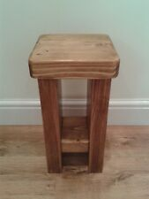 Slim Hand Made Slab Sided Rustic Solid Wood Bedside Table With Shelf