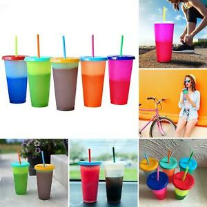 5PCS/Set Reusable Color Changing Cold Cups Plastic Coffee Mugs Water Bottles TU1