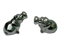 Metal Hippos Figurine Set of 2 table top statues