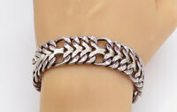 MEXICO 925 Sterling Silver - Vintage Flat Twist Link Chain Bracelet - B8988