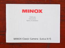 MINOX CLASSIC CAMERA LEICA IIIf INSTRUCTION BOOK/187063