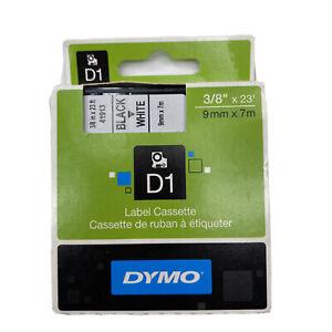 """Dymo D1 Black on White label cassette 41913 3/8""""x23' genuine oem sealed"""